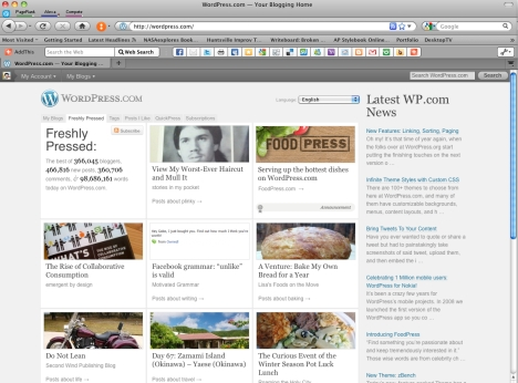 Screenshot of wordpress.com showing my post featured in the freshly pressed section