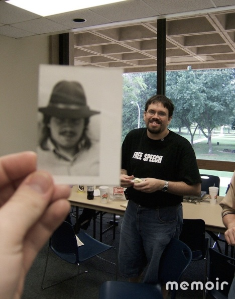David Hitt in 2005 with picture of David Hitt in 1993
